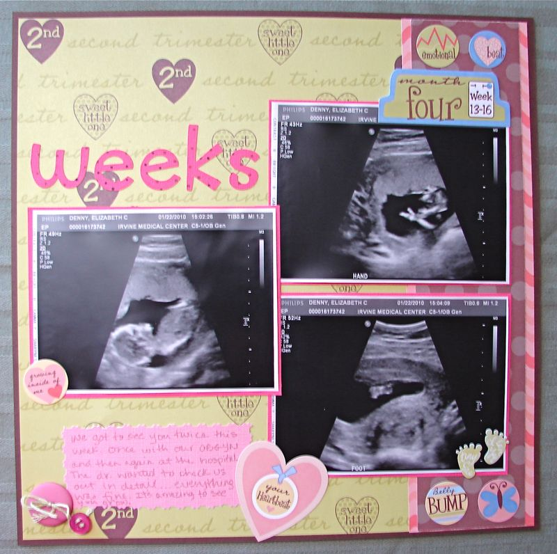 14 week pregnancy scrapbook layout