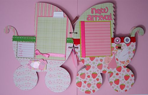 Baby Girl Carriage Chipboard Album